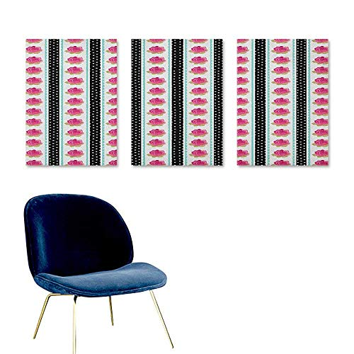 J Chief Sky Retro,Wall Art Stickers Vertical Old Fashioned Borders with Pink Roses on Polka Dots Background Country Style Wall Art Living Room Decoration Multicolor W16 x L24 ()