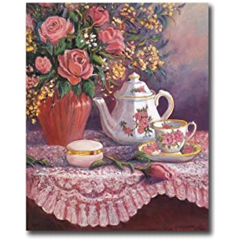 Amazon Com Victorian Rose Flowers And Tea Floral Wall
