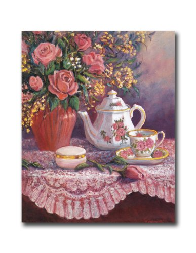 Victorian Rose Flowers And Tea Floral Wall Picture 8x10 Art