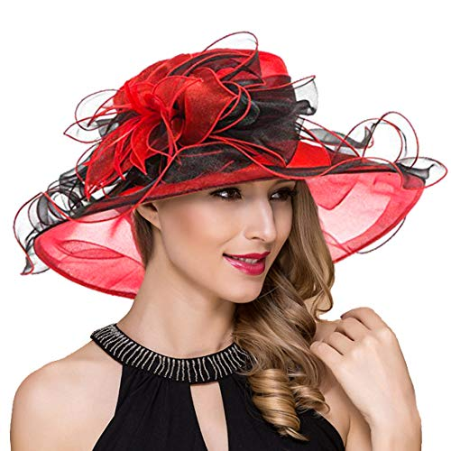 Women Kentucky Derby Church Dress Fascinator Wide Brim Tea Party Wedding Organza Hats S042b (S037-Red) -