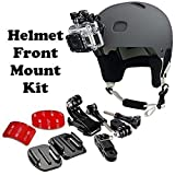 QuikProf Helmet Front Mount Kit with Curved j Hook Bracket for GoPro / SJCAM / Xiaomi Yi (with 3M Adhesive)