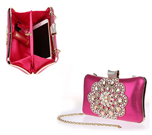 Shoulder Bag Evening Rose Clutch Purse Bag Party Small Ladies Bridal red Handbag AnKoee FPHwqvznxx
