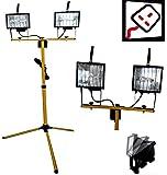 PROGEN 500W TELESCOPIC TWIN HEAD HALOGEN WORK SITE TRIPOD STAND FLOODLIGHT