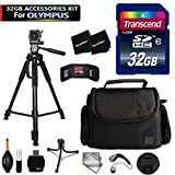 32GB Accessory Kit for Olympus Stylus SH-3, SH-2, PEN-F, Tough TG-870, TG-860, TG-4, 1s, OM-D E-M10, OM-D E-M5 II Cameras includes 32GB High-Speed Memory Card + Fitted Case + 72 inch Tripod + MORE