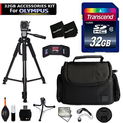 32GB Accessory Kit for Olympus Stylus SH-3, SH-2, PEN-F, Tough TG-870, TG-860, TG-4, 1s, OM-D E-M10, OM-D E-M5 II Cameras includes 32GB High-Speed Memory Card + Fitted Case + 72 inch Tripod + MORE by HeroFiber