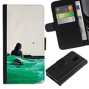 JackGot ( Green Ocean Surf ) Samsung Galaxy S5 V SM-G900 la tarjeta de Crédito Slots PU Funda de cuero Monedero caso cubierta de piel