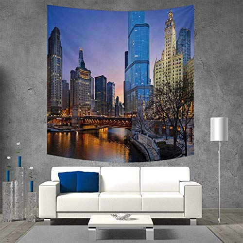 Cosmopolitan Wall Maps (Anniutwo Landscape Tapestry Wall Tapestry USA Chicago Cityscape Rivers Bridge Skyscrapers Cosmopolitan City Image Art Wall Decor 39W x 39L Inch Multicolor)