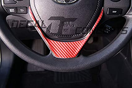 2014-2016 Corolla RED Carbon Fiber Steering Wheel Accent Decal Cover Wrap Toyota