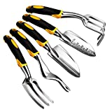 Anpress 5 Piece Gardening Tools Set Including Trowel, Transplanter, Cultivator, Weeder, Weeding Fork, Garden Tools with Heavy Duty Cast-aluminum Heads & Ergonomic Handles