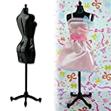 Black 8.8inch Doll Dress Form Clothing Clothes Gown Display Mannequin Model Stand D0C