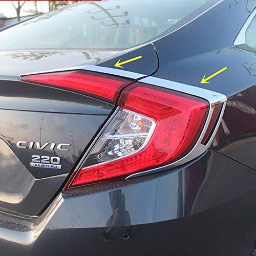 Sport Style Carbon Fiber Print Chrome Rear Taillight Cover Trim for Honda Civic Sedan 2016 2017 2018 ()