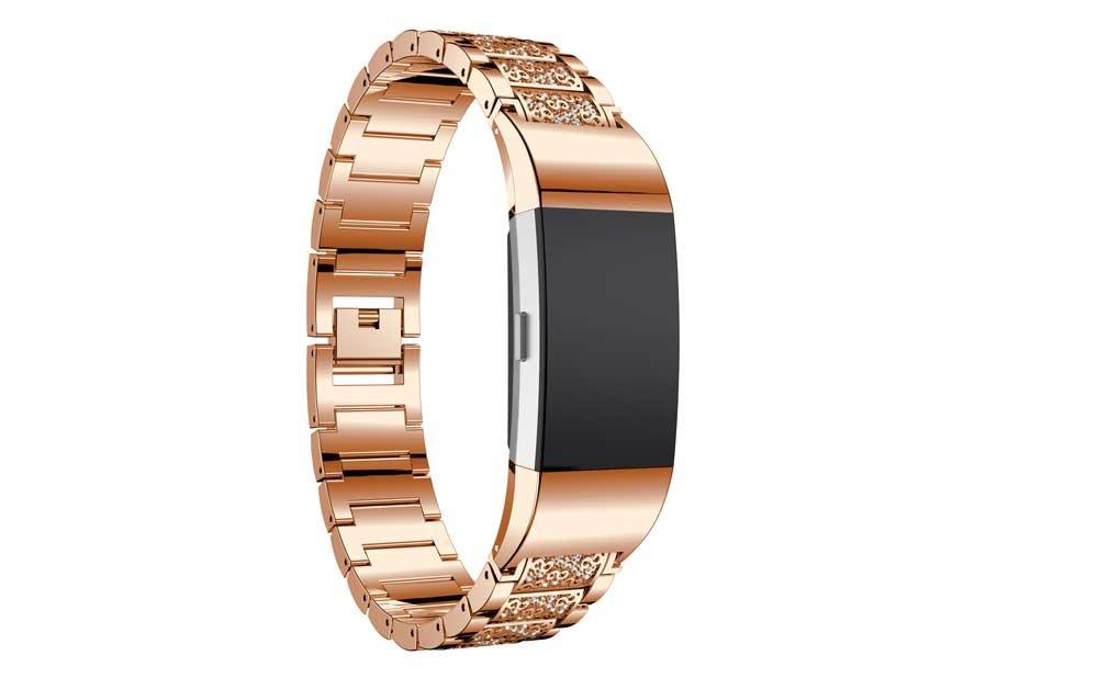 Hero IandクリスタルバンドFitbit Charge 2腕時計バンド交換ステンレススチール腕時計ストラップwithラインストーンブレスレットジュエリー手首ストラップfor Fitbit Charge 2 Smart Watch  ローズゴールド B07FCD1MYN