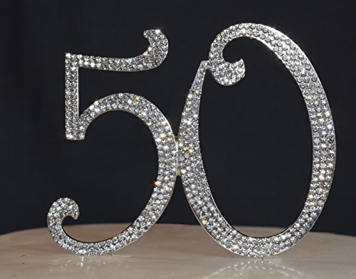 50 Cake Topper - Anniversary or Birthday Premium Crystal Rhinestone Cake Topper - 50th Birthday or Anniversary Party Decoration Idea (Anniversary Decoration Ideas)