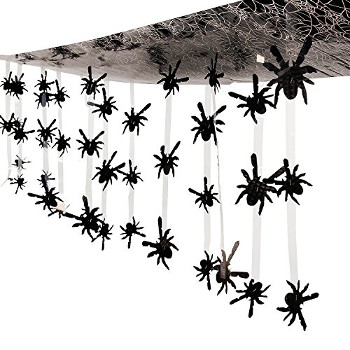 Indoor Halloween Decorations - 12 Ft. - Plastic Spider Ceiling Decoration - Great Halloween Decoration
