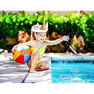 luck sea Unicorn Inflatable Ring Toss Pool Party Games Toys Floats Luau Supplies Favors for Kids Teens Adults
