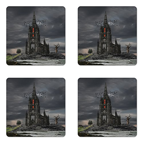 Lunarable Gothic Coaster Set of 4, Mysterious Gothic Castle Edinburgh Darkness Dramatic Sky Clouds Bat Old Building, Square Hardboard Gloss Coasters for Drinks, Olive ()