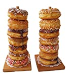 Wood Donut Stands - Set of 2 Donut Stands, Donut Bar for Wedding, Brunch or Office Party ~ FREE BONUS GIFT: Paper Lace Doilies with center hole (ready to use)