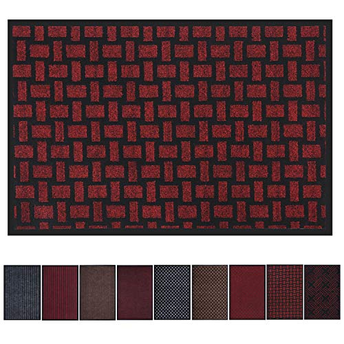 Premium Entrance Mat, Large Front Door Mat for Home and Business, 23 x 35 Inches Outdoor Indoor Entrance Doormat, Waterproof, Easy Clean, Non-Slip Heavy Duty Entry Mat (Dull Red Slub Stripe) (Red Mat Door Front)