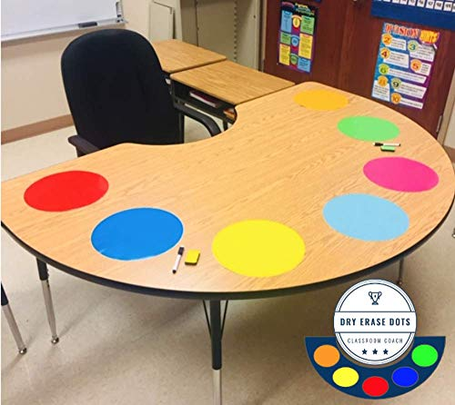 Table Dots Dry Erase Circles by Classroom Coach PET Vinyl for Easy Erasing - Set of 14 Multicolor Circles Decals for Tables, Whiteboard, or Walls! Great Teacher Classroom Supplies (14)