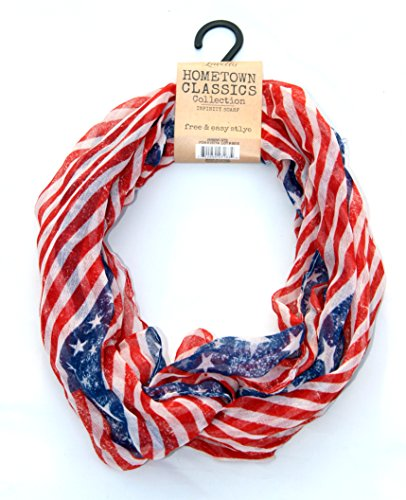 Lavello Hometown Classics Collection Infinity Scarf Stars & Stripes Ensemble (Red) (America Infinity Scarf)