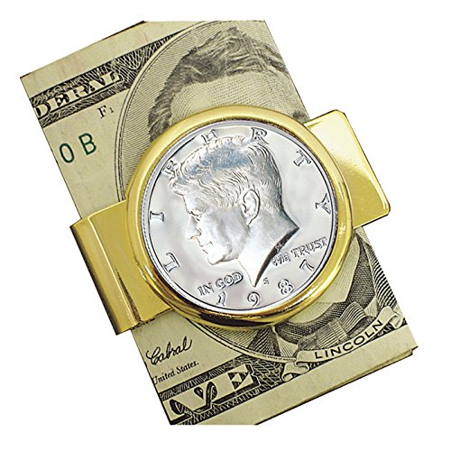 Coin Money Clip - Proof JFK Half Dollar | Brass Moneyclip Layered in Pure 24k Gold | Holds Currency, Credit Cards, Cash | Genuine U.S. Coin | Includes a Certificate of Authenticity (We Hold A Treasure Not Made Of Gold)