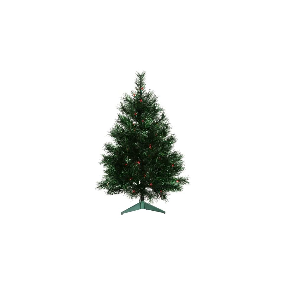 3 Pre Lit Midnight Green Artificial Christmas Tree   Red Lights