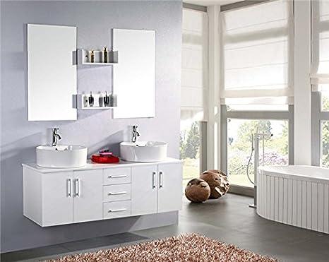 Mobile bagno lavabo moderno sospeso con maniglioni cm
