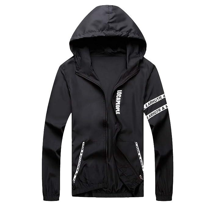 Amazon.com: WM & MW Mens Fashion Letter Casual Hooded Jacket ...