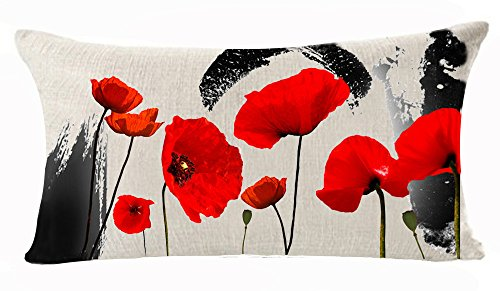 (Enchanting Ink Painting Beautiful Red Poppy Flowers Anniversary Day Present Cotton Linen Home Office Decorative Throw Waist Lumbar Pillow Case Cushion Cover Rectangle 12 X 20 Inches)