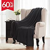 "Knitted Throw Blanket for Sofa and Couch, Lightweight, Soft & Cozy Knit Throws - Ash Black, 50""x60"" by Bedsure"