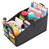 Lusso Gear Car Seat Organizer Front Backseat Red Stitching Great Adults & Kids Featuring 8 Storage Compartments Toys, Magazines, Tissues, Maps, Books, Documents, Games & More