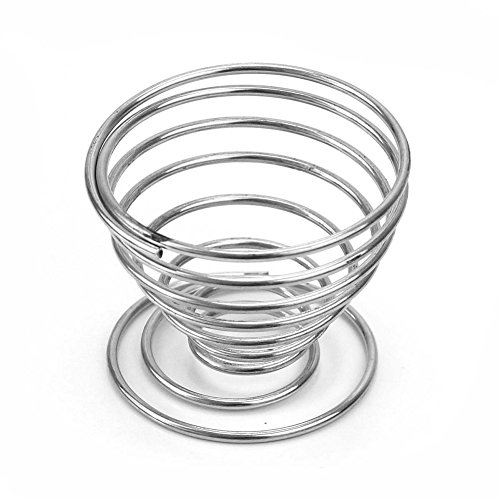 ReFaXi® 4x Silver Stainless Steel Spring Wire Tray Boiled Egg Cups Holder Stand Storage