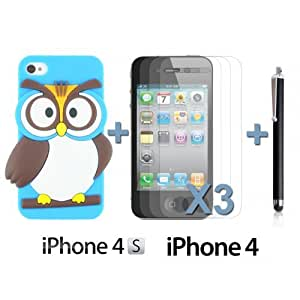 OnlineBestDigital - Owl Style Slim Soft Silicone Case for Apple iPhone 4S / Apple iPhone 4 - Light Blue with 3 Screen Protectors and Stylus