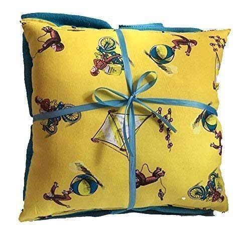 (Curious George 14 inch by 14 inch Pillow and Solid Color Fleece Blanket Set Handmade)