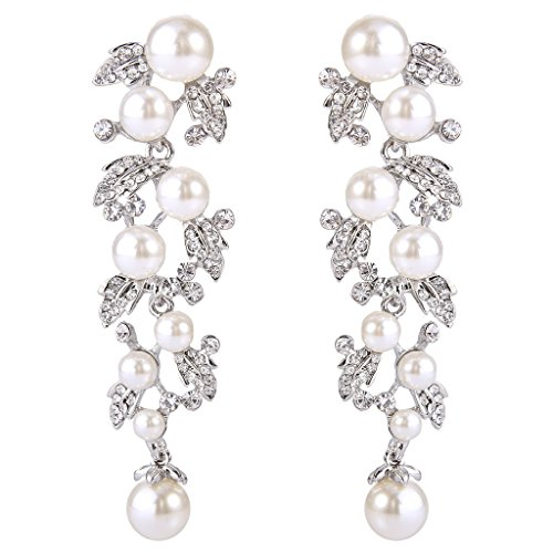 EVER FAITH Women's Austrian Crystal White Simulated Pearl Bridal Leaf Dangle Earrings Clear Silver-Tone