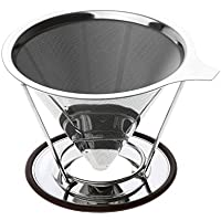 Reusable Coffee Filter Holder Set Stainless Steel Brew Dripper Cone Funnel Metal Mesh with Cup Stand, 12.5cm