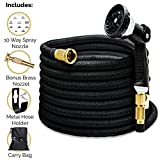 75 ft heavy duty hose - Morvat IMPROVED FOR 2018 Heavy Duty Expandable Garden Hose, Super Strength Fabric 3800D, All Brass. Includes 10-Setting Spray Nozzle, an Extra Heavy-Duty Brass Nozzle + Hose Holder + Carry Bag 75FT
