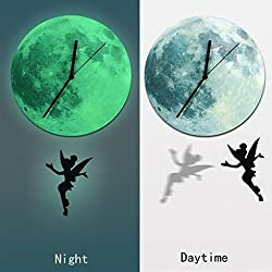 SMYTShop 11.8 Diameter New Creative Luminous Moonlight Wall Clock 3D Watch Moon Glow In The Dark Clock Kids Wall Clock Decorations Wall pendulum Timer (Wall clock small ding)