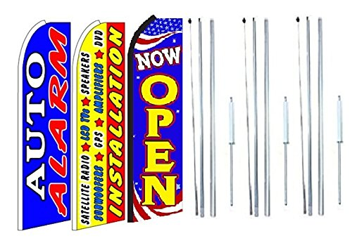 Lcd Pole Kit (Auto alarm, installation satelite radio, lcd, speakers, amplifiers, Now Open King Swooper Feather Flag Sign Kit With Complete Hybrid Pole set- Pack of 3)