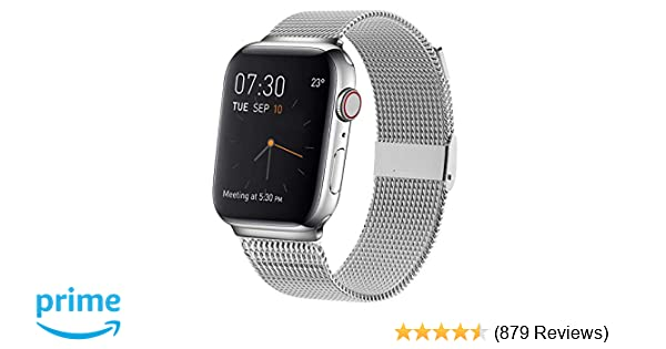MCORS Compatible with Apple Watch Band 38mm 40mm,Stainless Steel Mesh Metal Loop with Adjustable Magnetic Closure Replacement Bands Compatible with ...