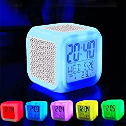 Alarm Clock 7 LED Color Changing Wake Up Bedroom with Data and Temperature Display (Changable Color) Customize the pattern-148.Abstract Triangles Seamless Pattern