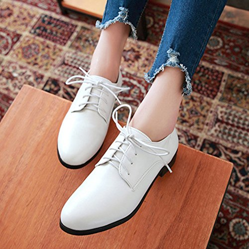 Casual White Shoes Oxfords Glossy Fashion Women's T Comfy Shoes Lace Low up Toe JULY Round Heel AwZOIqU
