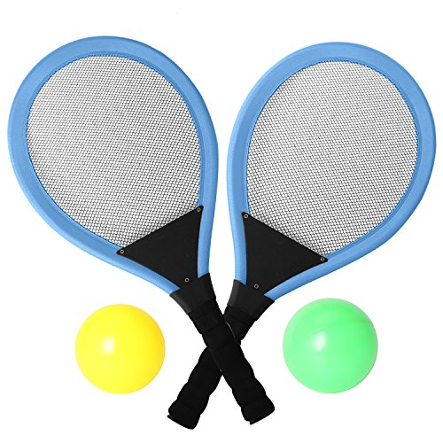 """rainbow yuango Pack of 2 22"""" Badminton Tennis Rackets Kit with 2 Balls Junior Sports Elastic Mesh Badminton Racquets Set for Kids Outdoors Play Game Toy(6969A-Blue)"""