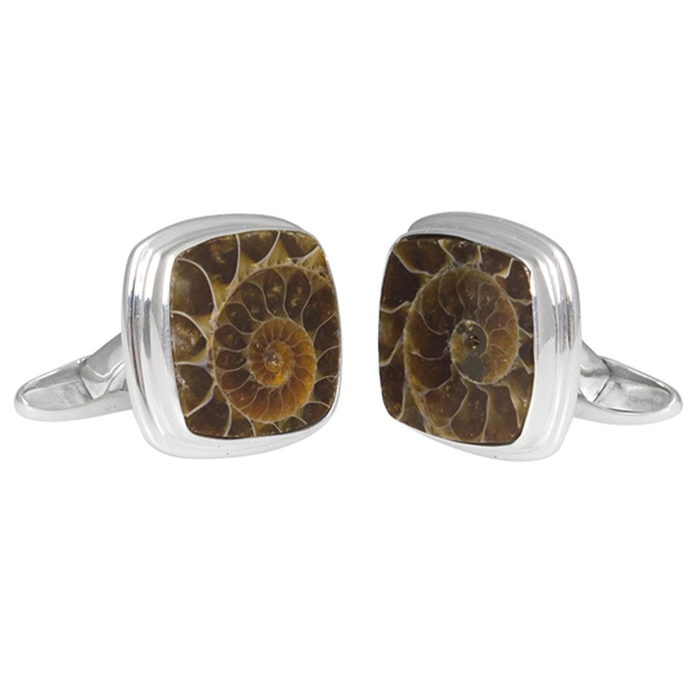 Starborn Creations Sterling Silver Square Fossilized Ammonite Cuff Links by Starborn