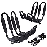 Goplus Kayak Carrier Universal 2 Pair J- shape Rack Canoe Boat Surf Ski Roof Top Mounted on Car SUV Truck VAN