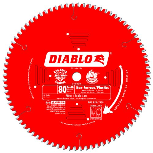 Ferrous Metal Cutting Blade (Freud D1080N Diablo 10-Inch 80 Tooth TCG Non-Ferrous Metal and Plastic Cutting Saw Blade with 5/8-Inch Arbor and PermaShield Coating)