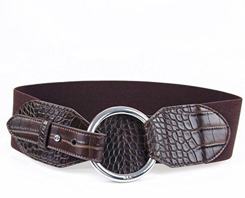 Lauren Ralph Lauren Croc-Embossed Stretch Belt - Brown - (Ralph Lauren Croc)