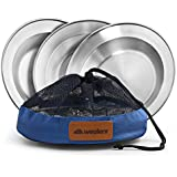 Stainless Steel Plate Set - 8.5 inch Ultra-Portable Dinnerware Set BPA Free Plates with Mesh Travel Bags for Outdoor Camping | Hiking | Picnic | BBQ | Beach