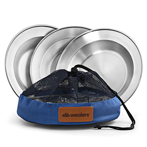 Stainless Steel Plate Set - 8.5 inch Ultra-Portable Dinnerware 3 Pack Round BPA Free Plates with Mesh Travel Bag for Outdoor Camping | Hiking | Picnic | BBQ | Beach