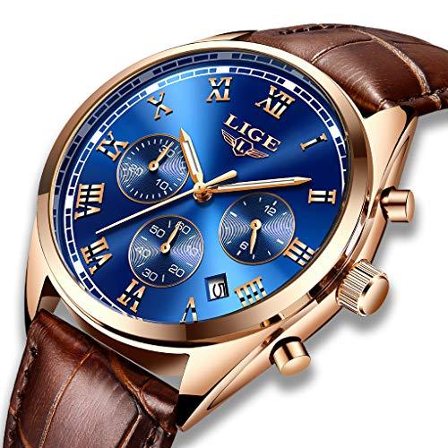 Men's Watches Fashion Analog Quartz Watch LIGE Date Business Chronograph Dress Luxury Brand Brown Leather Wristwatch Gents Sport Waterproof Wristwatch, Rose Gold Blue
